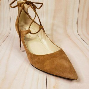 Marc Fisher Willy Brown Wedge Heels Suede Lace Up